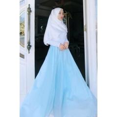 Adior Basic Crepe Flare Skirt - Baby Blue