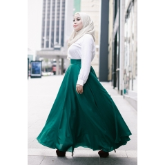 Adior Basic Crepe Flare Skirt - Emerald Green