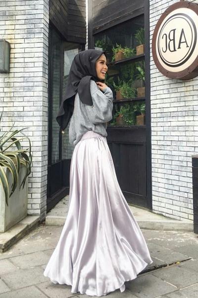 5e4f441672 Adior Basic Satin Flare Skirt - Silver