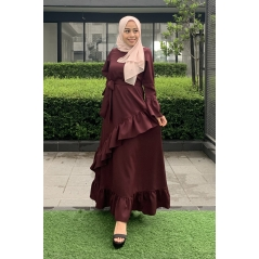Adior Hana Ruffle Dress - Burgundy