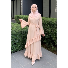 Adior Hana Ruffle Dress - Cream Nude