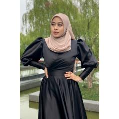 Adior Satin Silk Khayla Drape Blouse - Black