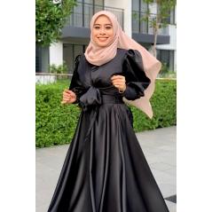 Adior Satin Silk Flare Skirt - Black