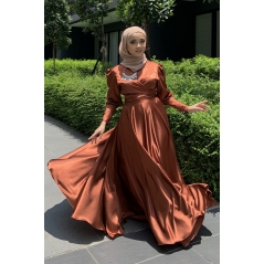 Adior Satin Silk Flare Skirt - Cinnamon Brown