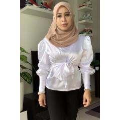 Adior Satin Silk Khayla Drape Blouse - Pure White