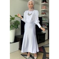 Adior Premium Dull Satin Mermaid Skirt - White