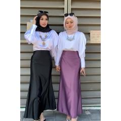 Adior Premium Dull Satin Mermaid Skirt - Purple Twilight