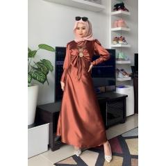 Adior Satin Silk A-Cut Skirt - Cinnamon Brown