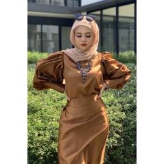 Adior Satin Silk A-Cut Skirt - Golden Brown