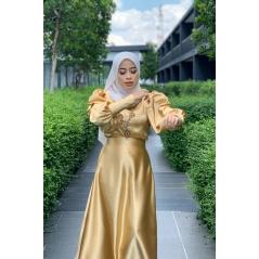 Adior Satin Silk A-Cut Skirt - Light Gold