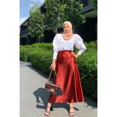 Adior Satin Silk A-Cut Skirt - Red Wine