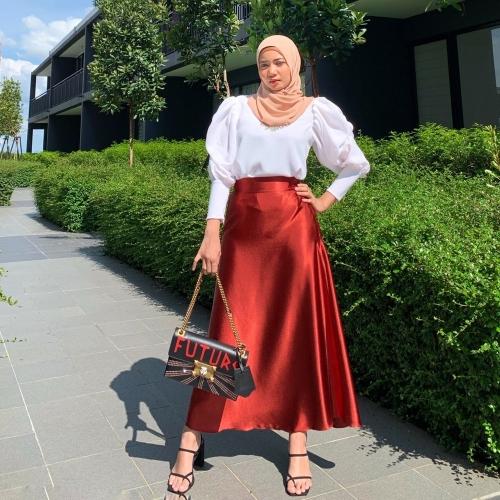 Adior Premium Satin Silk A-Cut Skirt