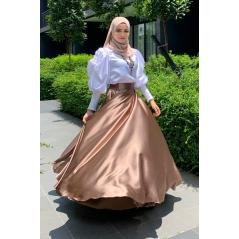 Adior Satin Silk Flare Skirt - Bronze