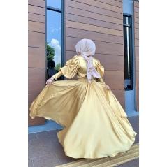 Adior Satin Silk Flare Skirt - Light Gold