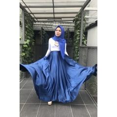 Adior Satin Silk Flare Skirt - Navy Blue