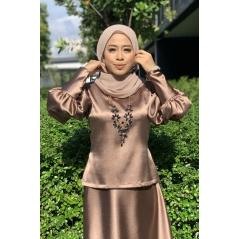 Adior Satin Silk Bunga Medina Blouse - Bronze