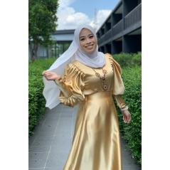 Adior Satin Silk Bunga Medina Blouse - Light Gold