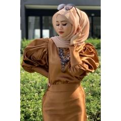 Adior Satin Silk Bunga Medina Blouse - Golden Brown