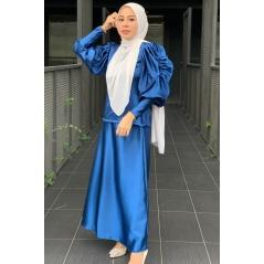 Adior Satin Silk Bunga Medina Blouse - Navy Blue